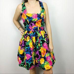 AJ Bari • Vintage Floral Fit & Flare Dress